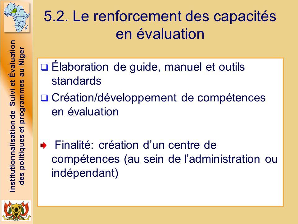 Institutionnalisation de Suivi et Évaluation des politiques et programmes au Niger 5.2. Le renforcement des capacités en évaluation Élaboration de gui