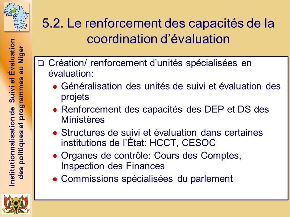 Institutionnalisation de Suivi et Évaluation des politiques et programmes au Niger 5.2. Le renforcement des capacités de la coordination dévaluation C