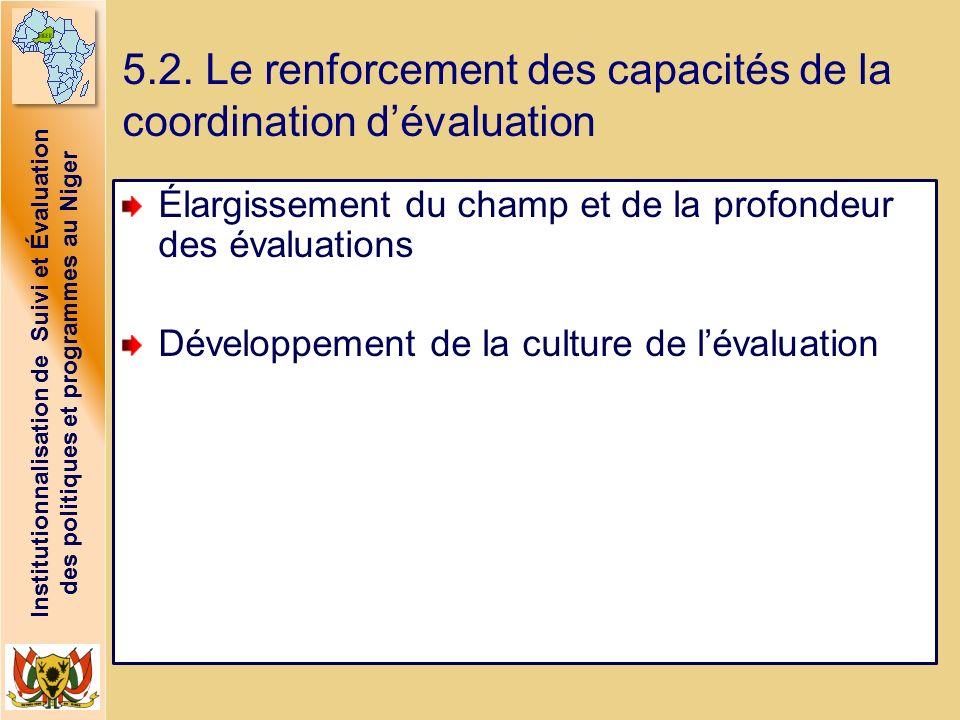 Institutionnalisation de Suivi et Évaluation des politiques et programmes au Niger 5.2. Le renforcement des capacités de la coordination dévaluation É