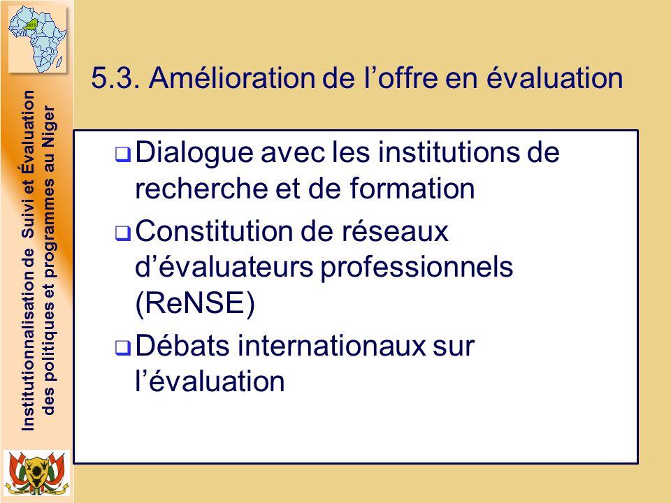Institutionnalisation de Suivi et Évaluation des politiques et programmes au Niger 5.3. Amélioration de loffre en évaluation Dialogue avec les institu