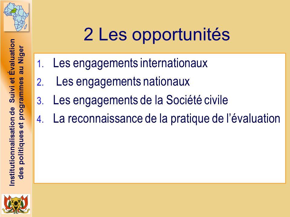 Institutionnalisation de Suivi et Évaluation des politiques et programmes au Niger 2 Les opportunités 1. Les engagements internationaux 2. Les engagem