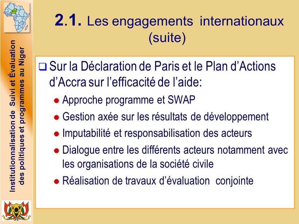 Institutionnalisation de Suivi et Évaluation des politiques et programmes au Niger 2.1. Les engagements internationaux (suite) Sur la Déclaration de P