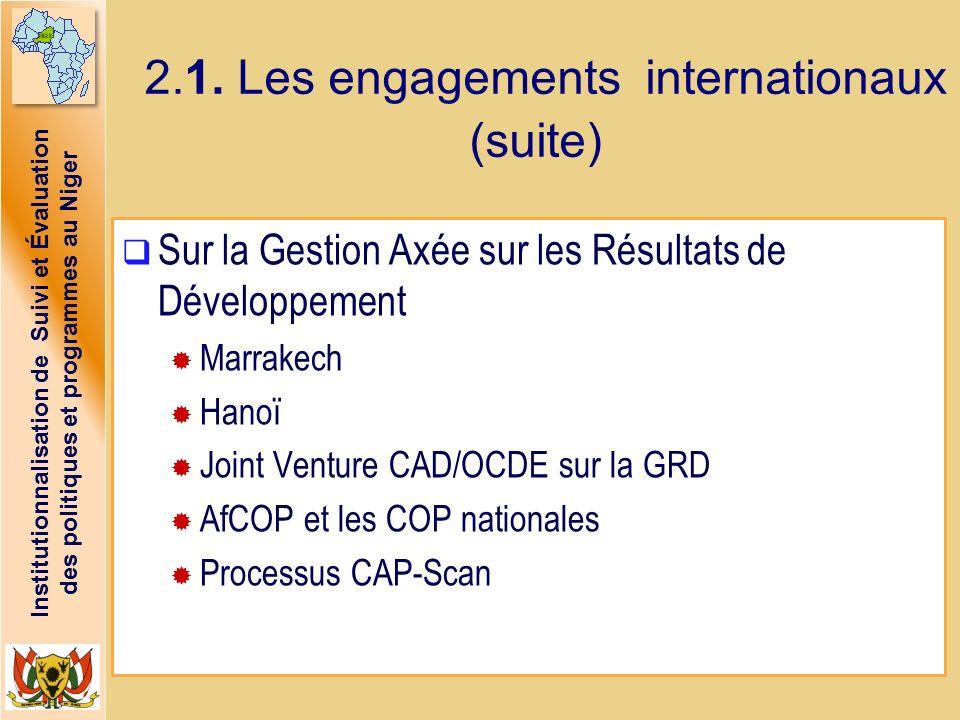 Institutionnalisation de Suivi et Évaluation des politiques et programmes au Niger 2.1. Les engagements internationaux (suite) Sur la Gestion Axée sur