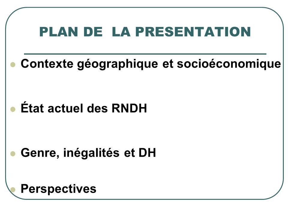 PLAN DE LA PRESENTATION Contexte géographique et socioéconomique État actuel des RNDH Genre, inégalités et DH Perspectives