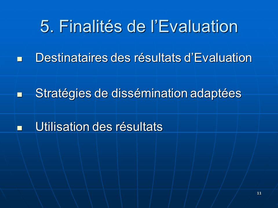 11 5. Finalités de lEvaluation Destinataires des résultats dEvaluation Destinataires des résultats dEvaluation Stratégies de dissémination adaptées St