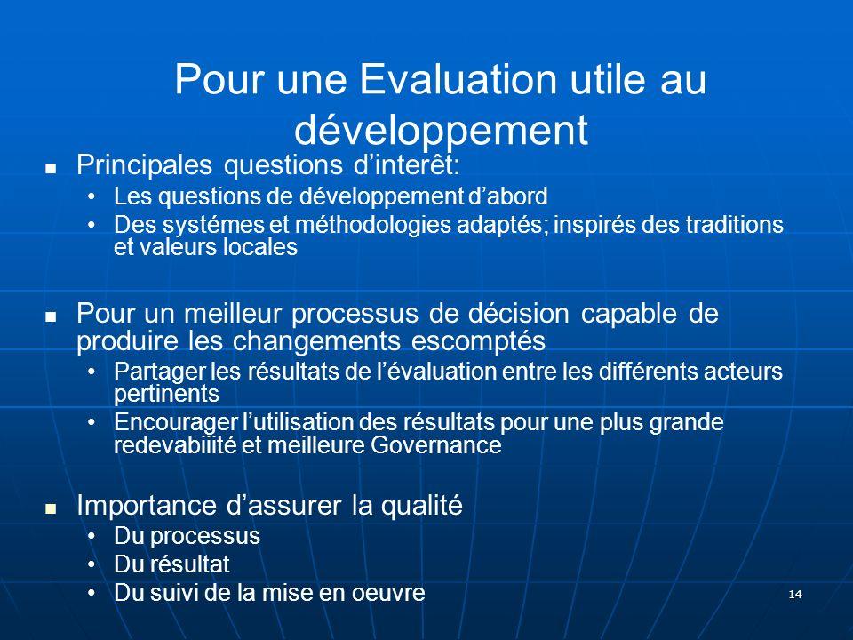 14 Pour une Evaluation utile au développement Principales questions dinterêt: Les questions de développement dabord Des systémes et méthodologies adap