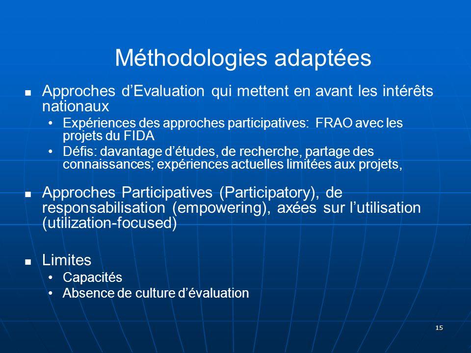 15 Méthodologies adaptées Approches dEvaluation qui mettent en avant les intérêts nationaux Expériences des approches participatives: FRAO avec les pr
