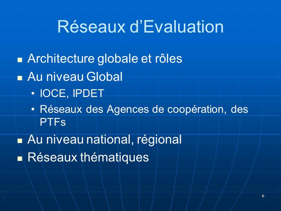 6 Réseaux dEvaluation Architecture globale et rôles Au niveau Global IOCE, IPDET Réseaux des Agences de coopération, des PTFs Au niveau national, régi