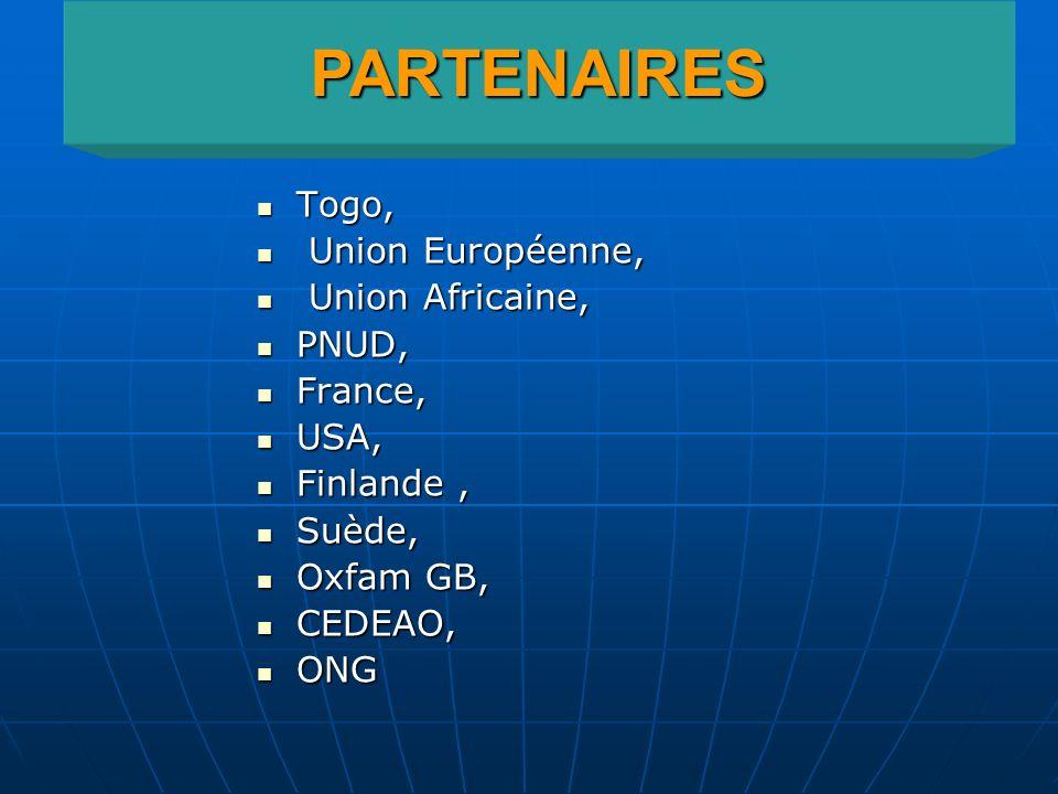 Togo, Togo, Union Européenne, Union Européenne, Union Africaine, Union Africaine, PNUD, PNUD, France, France, USA, USA, Finlande, Finlande, Suède, Suè