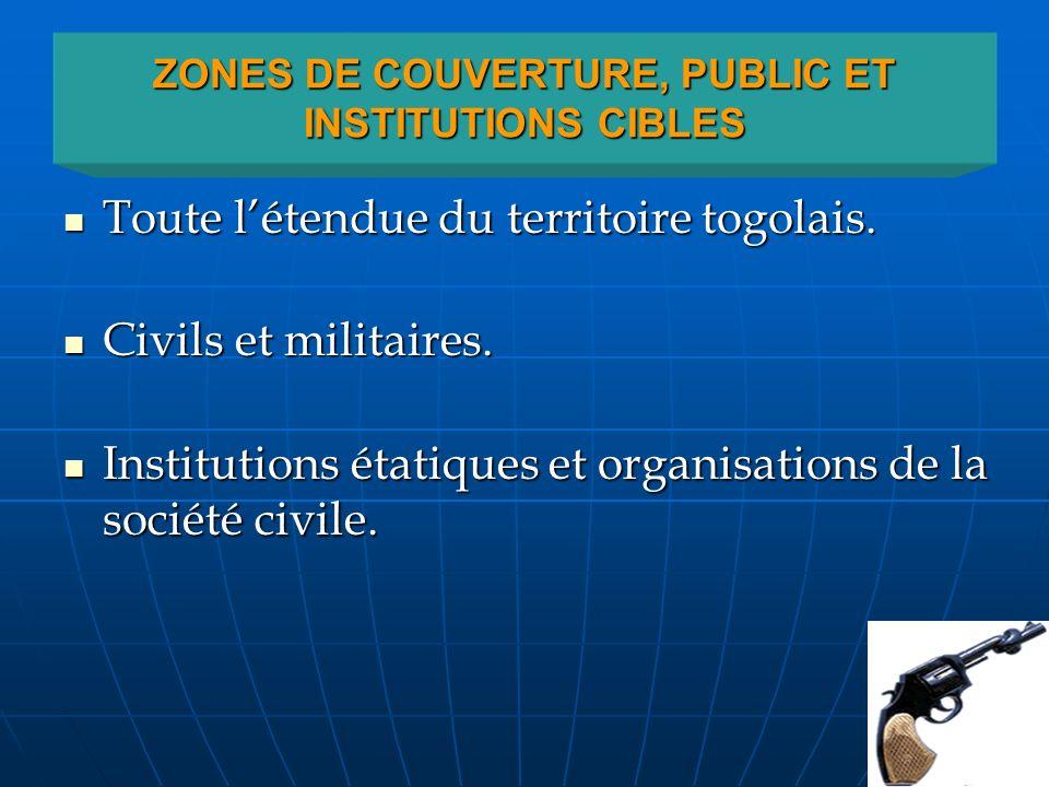 ZONES DE COUVERTURE, PUBLIC ET INSTITUTIONS CIBLES Toute létendue du territoire togolais. Toute létendue du territoire togolais. Civils et militaires.