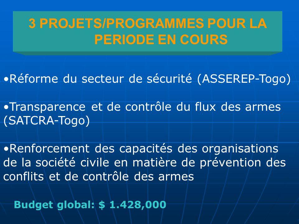 3 PROJETS/PROGRAMMES POUR LA PERIODE EN COURS Réforme du secteur de sécurité (ASSEREP-Togo) Transparence et de contrôle du flux des armes (SATCRA-Togo