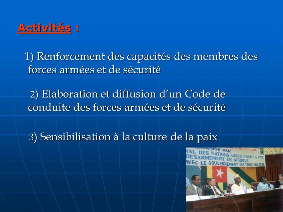 Activités : 1) Renforcement des capacités des membres des forces armées et de sécurité 2 ) Elaboration et diffusion dun Code de conduite des forces ar