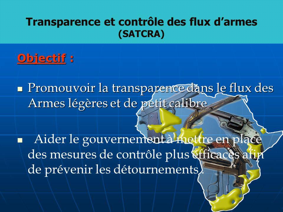 Objectif : Promouvoir la transparence dans le flux des Armes légères et de petit calibre Promouvoir la transparence dans le flux des Armes légères et