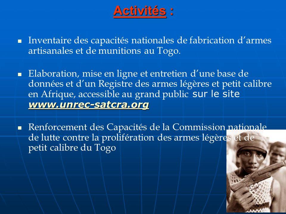 Activités : Inventaire des capacités nationales de fabrication darmes artisanales et de munitions au Togo. www.unrec-satcra.org Elaboration, mise en l