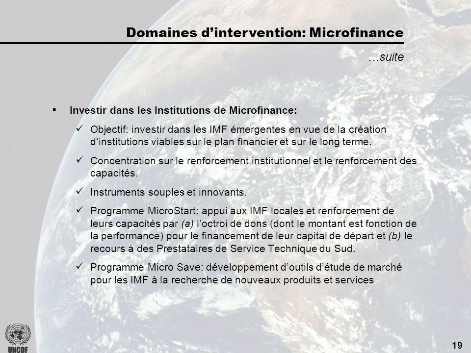 18 Construction de secteurs financiers inclusifs: Objectif: améliorer laccès des pauvres aux services de microfinance.