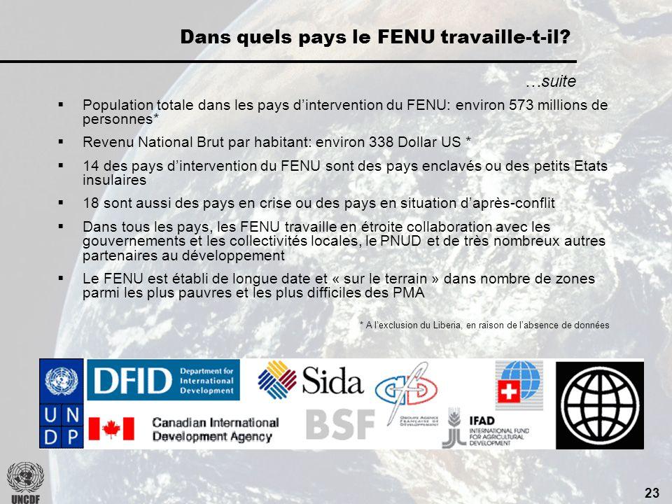 22 Actuellement, dans 28 PMA: Dans quels pays le FENU travaille-t-il