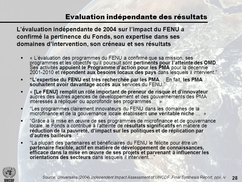 27 Principaux points saillants de lAnnée international du microcrédit Plus de 100 pays participants.