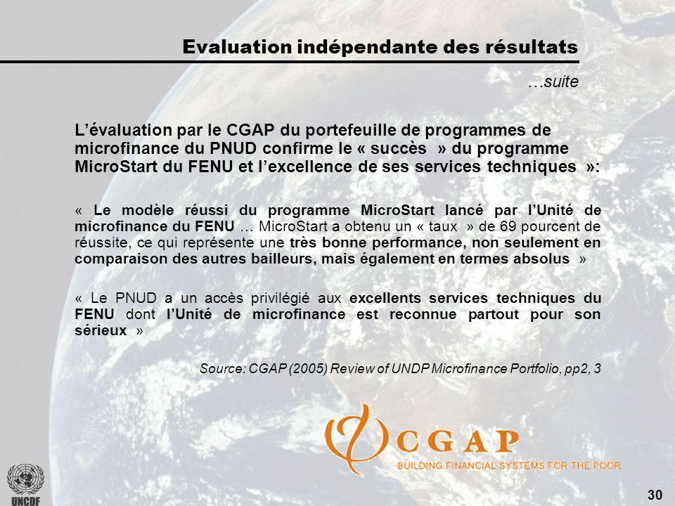 29 …suite LEvaluation du CAD-OCDE par 19 bailleurs sur les programmes de décentralisation confirme le « succès » du FENU: « Le programme du FENU est le seul exemple dun modèle qui ait été institutionnalisé et répliqué à grande échelle.