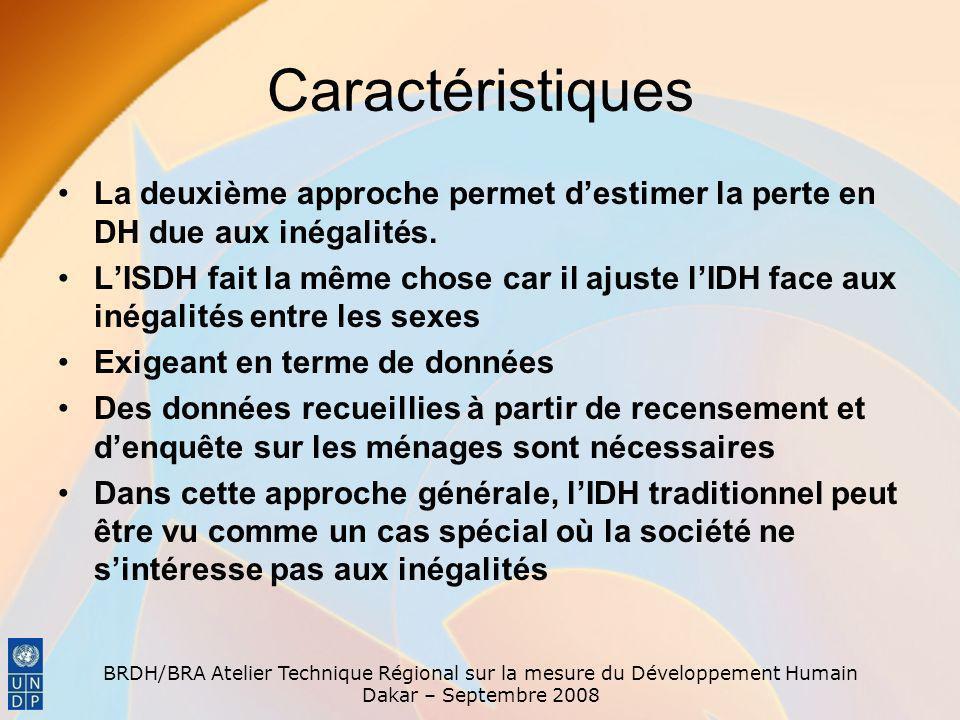 BRDH/BRA Atelier Technique Régional sur la mesure du Développement Humain Dakar – Septembre 2008 Caractéristiques La deuxième approche permet destimer