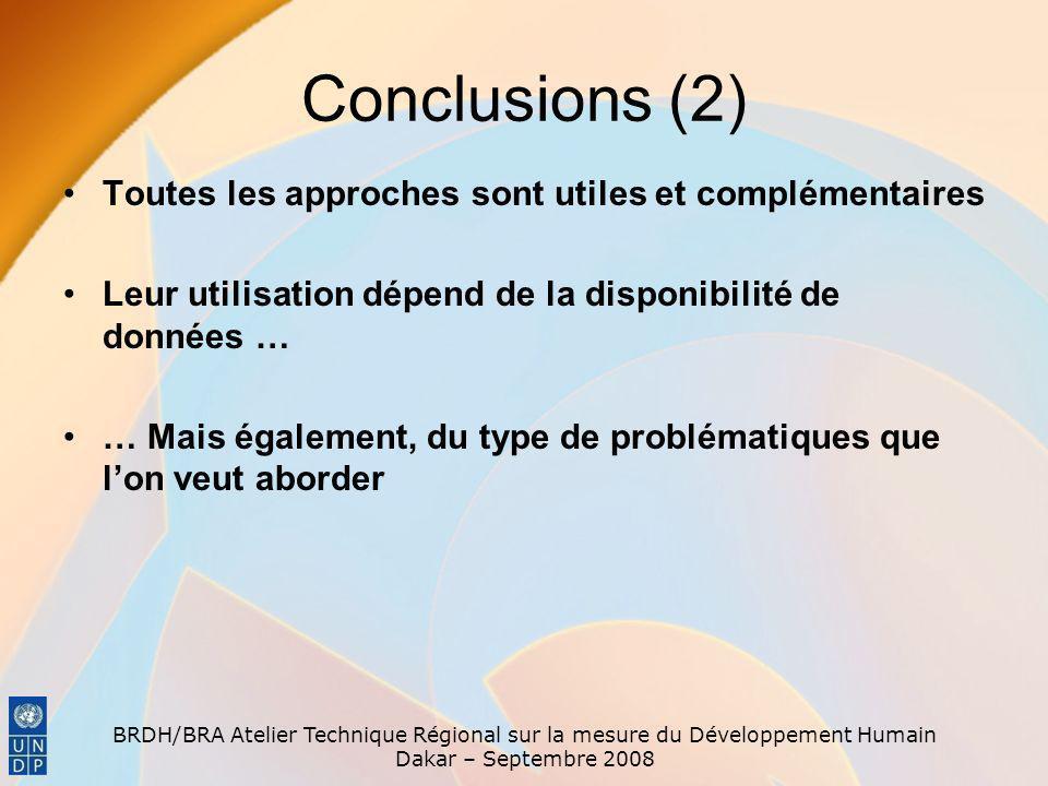 BRDH/BRA Atelier Technique Régional sur la mesure du Développement Humain Dakar – Septembre 2008 Conclusions (2) Toutes les approches sont utiles et c