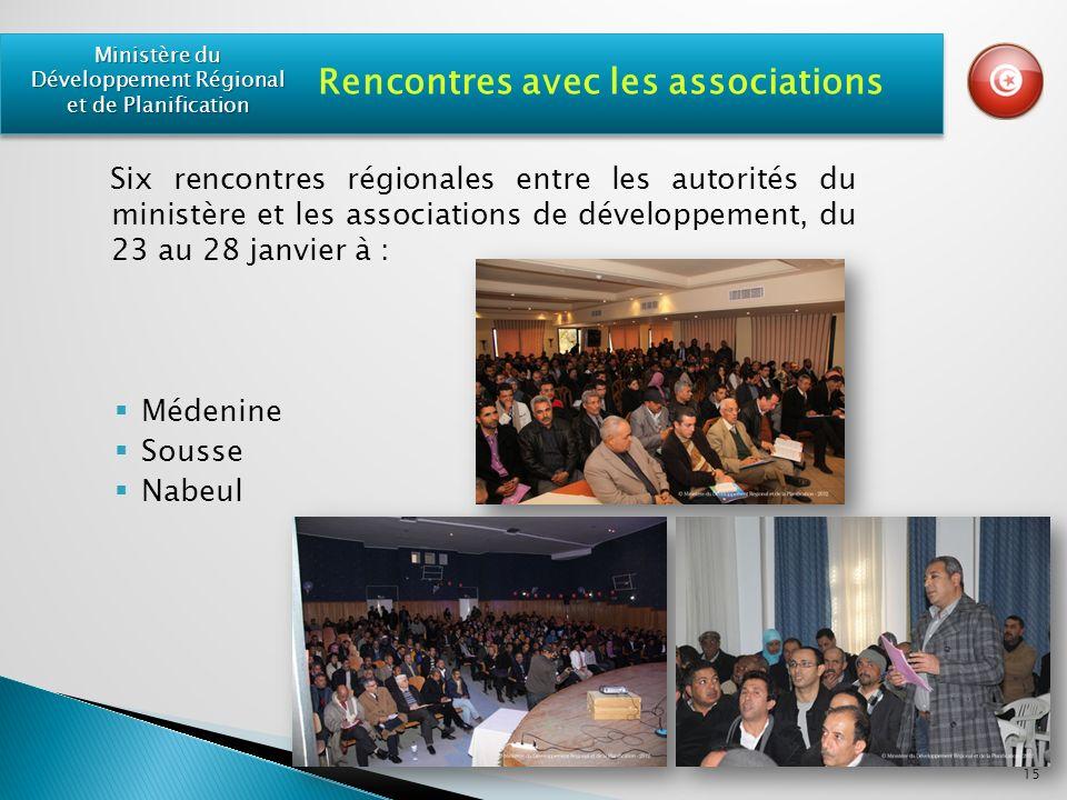 Six rencontres régionales entre les autorités du ministère et les associations de développement, du 23 au 28 janvier à : Médenine Sousse Nabeul 15 Rencontres avec les associations Ministère du Développement Régional et de Planification