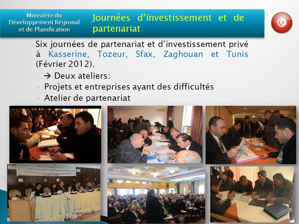 Six journées de partenariat et dinvestissement privé à Kasserine, Tozeur, Sfax, Zaghouan et Tunis (Février 2012).