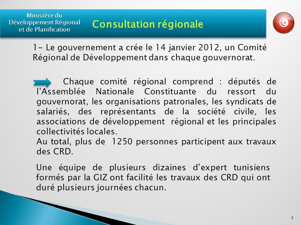 Chaque comité régional comprend : députés de lAssemblée Nationale Constituante du ressort du gouvernorat, les organisations patronales, les syndicats de salariés, des représentants de la société civile, les associations de développement régional et les principales collectivités locales.