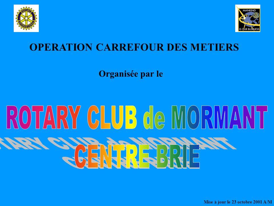 OPERATION CARREFOUR DES METIERS Organisée par le Mise à jour le 23 octobre 2001 A/M