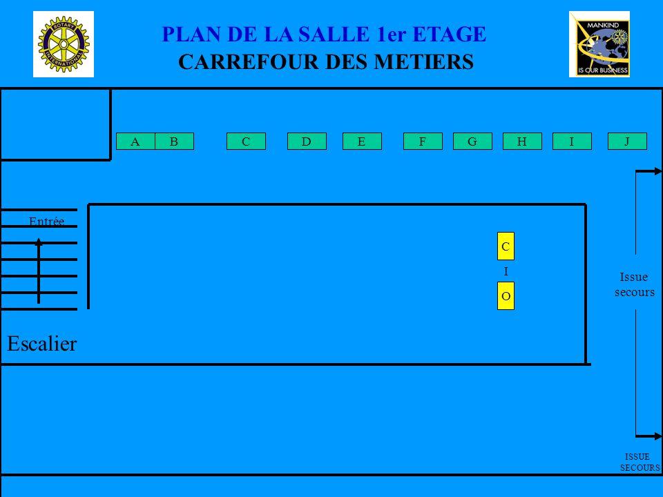 CARREFOUR DES METIERS A Entrée ISSUE SECOURS Issue secours PLAN DE LA SALLE 1er ETAGE BFEDCGIHJ Escalier C O I