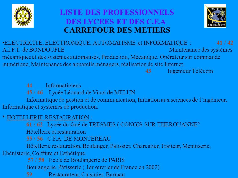 LISTE DES PROFESSIONNELS DES LYCEES ET DES C.F.A CARREFOUR DES METIERS ELECTRICITE, ELECTRONIQUE, AUTOMATISME et INFORMATIQUE :41 / 42 A.I.F.T.