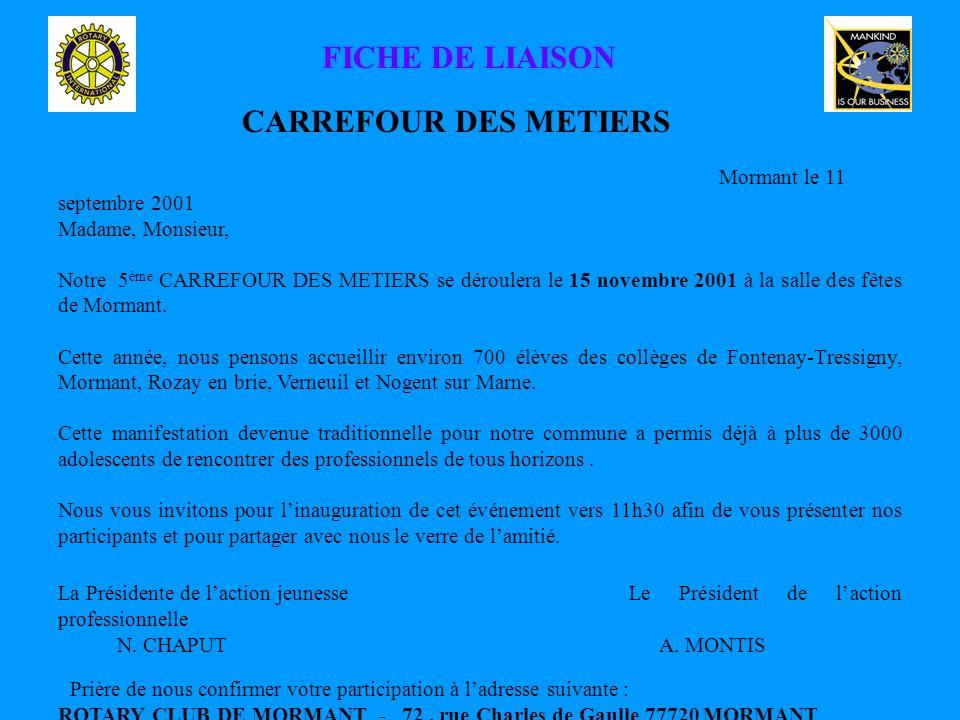 FICHE DE LIAISON CARREFOUR DES METIERS Mormant le 11 septembre 2001 Madame, Monsieur, Notre 5 ème CARREFOUR DES METIERS se déroulera le 15 novembre 2001 à la salle des fêtes de Mormant.