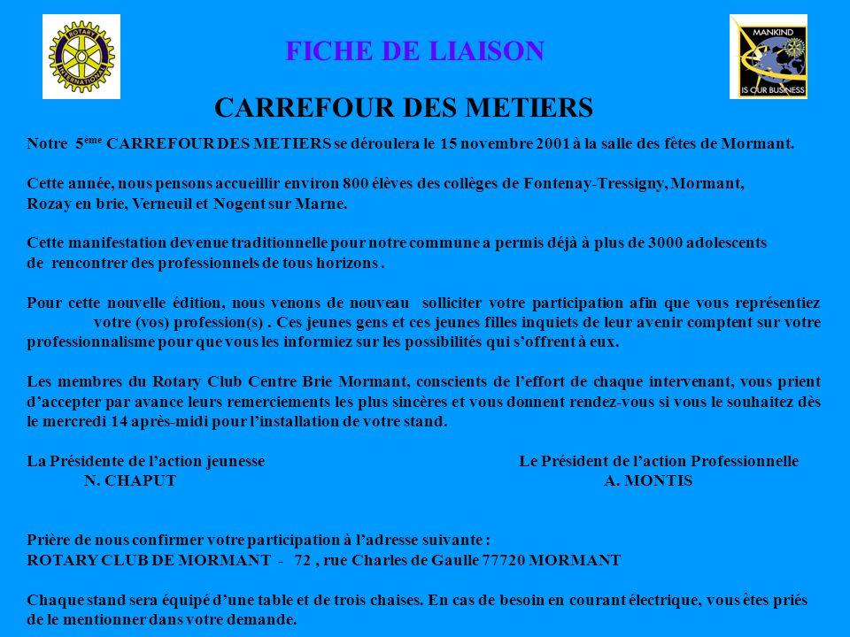 FICHE DE LIAISON CARREFOUR DES METIERS Notre 5 ème CARREFOUR DES METIERS se déroulera le 15 novembre 2001 à la salle des fêtes de Mormant.