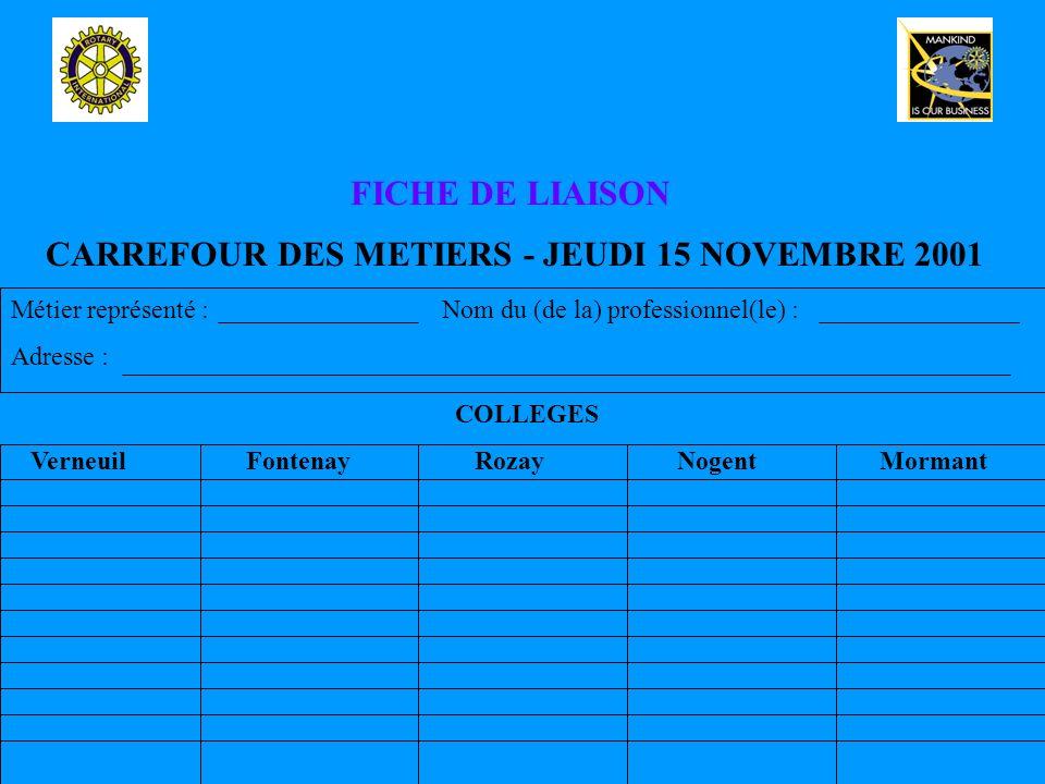 CARREFOUR DES METIERS - JEUDI 15 NOVEMBRE 2001 FICHE DE LIAISON Métier représenté : Nom du (de la) professionnel(le) : Adresse : COLLEGES Verneuil Fontenay Rozay Nogent Mormant