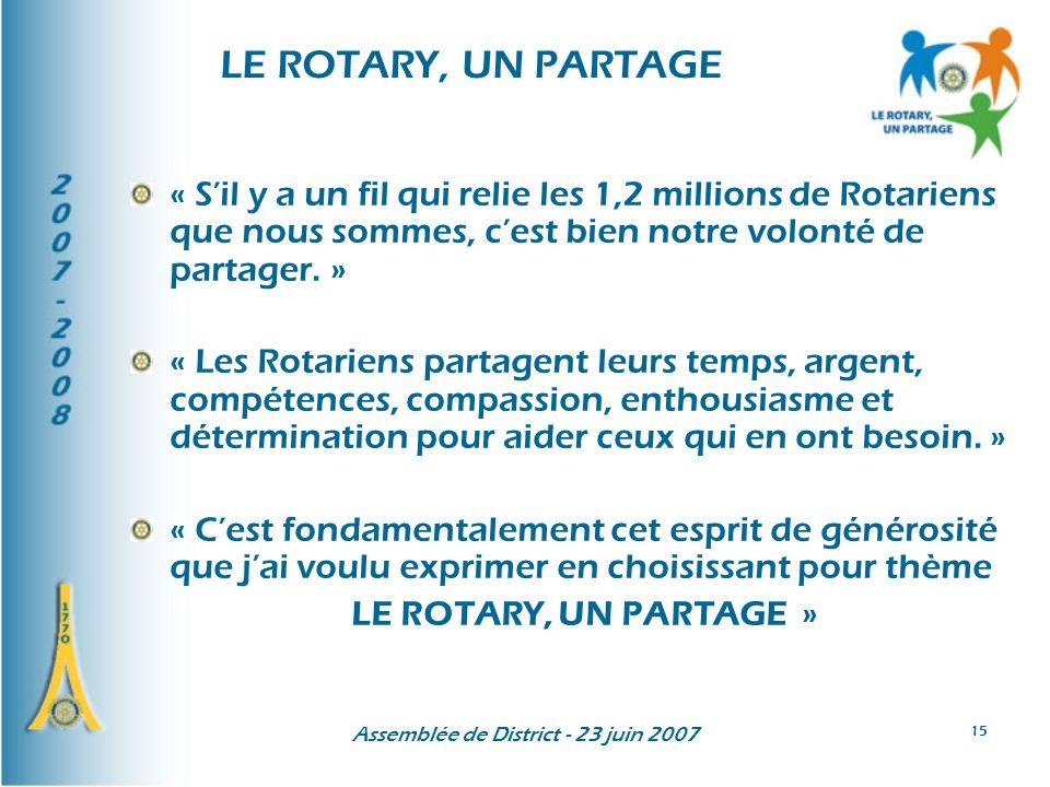 Assemblée de District - 23 juin 2007 15 LE ROTARY, UN PARTAGE « Sil y a un fil qui relie les 1,2 millions de Rotariens que nous sommes, cest bien notre volonté de partager.