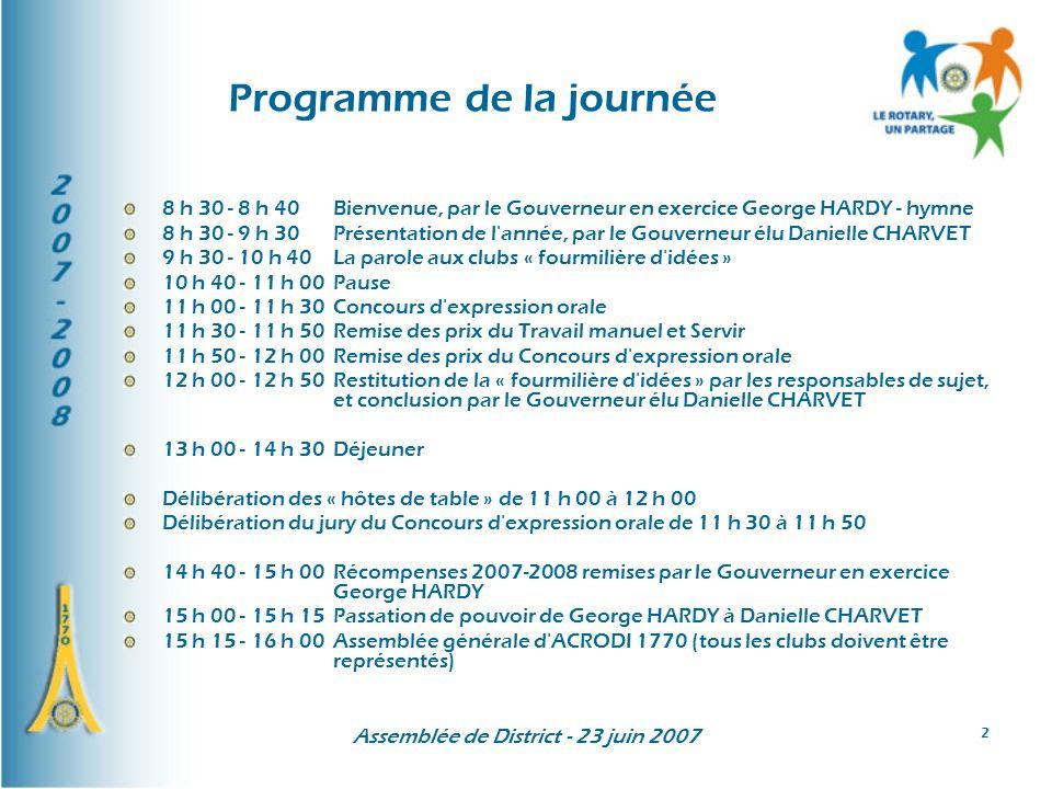 Assemblée de District - 23 juin 2007 43 Privilégier les actions« professionnelles » : SESAME E G E emploi des cadres Objectifs du district1770 pour 2007-2008 (4)