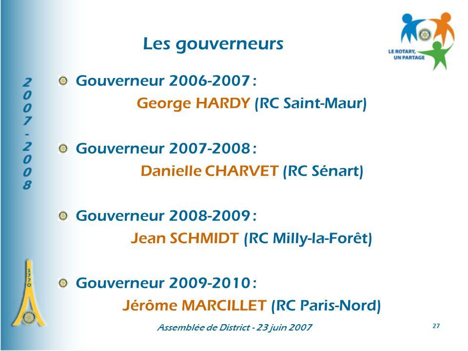 Assemblée de District - 23 juin 2007 27 Les gouverneurs Gouverneur 2006-2007 : George HARDY (RC Saint-Maur) Gouverneur 2007-2008 : Danielle CHARVET (RC Sénart) Gouverneur 2008-2009 : Jean SCHMIDT (RC Milly-la-Forêt) Gouverneur 2009-2010 : Jérôme MARCILLET (RC Paris-Nord)