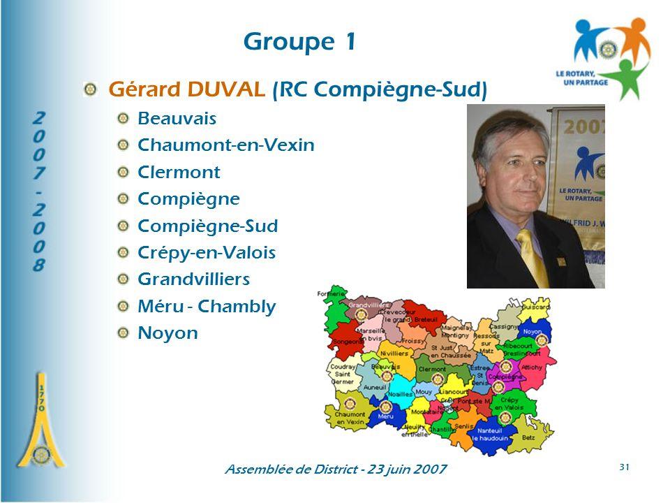 Assemblée de District - 23 juin 2007 31 Groupe 1 Gérard DUVAL (RC Compiègne-Sud) Beauvais Chaumont-en-Vexin Clermont Compiègne Compiègne-Sud Crépy-en-Valois Grandvilliers Méru - Chambly Noyon