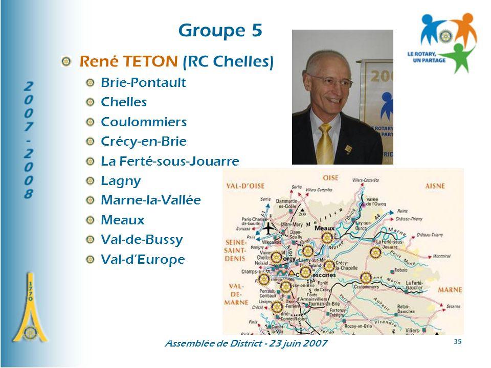 Assemblée de District - 23 juin 2007 35 Groupe 5 René TETON (RC Chelles) Brie-Pontault Chelles Coulommiers Crécy-en-Brie La Ferté-sous-Jouarre Lagny Marne-la-Vallée Meaux Val-de-Bussy Val-dEurope