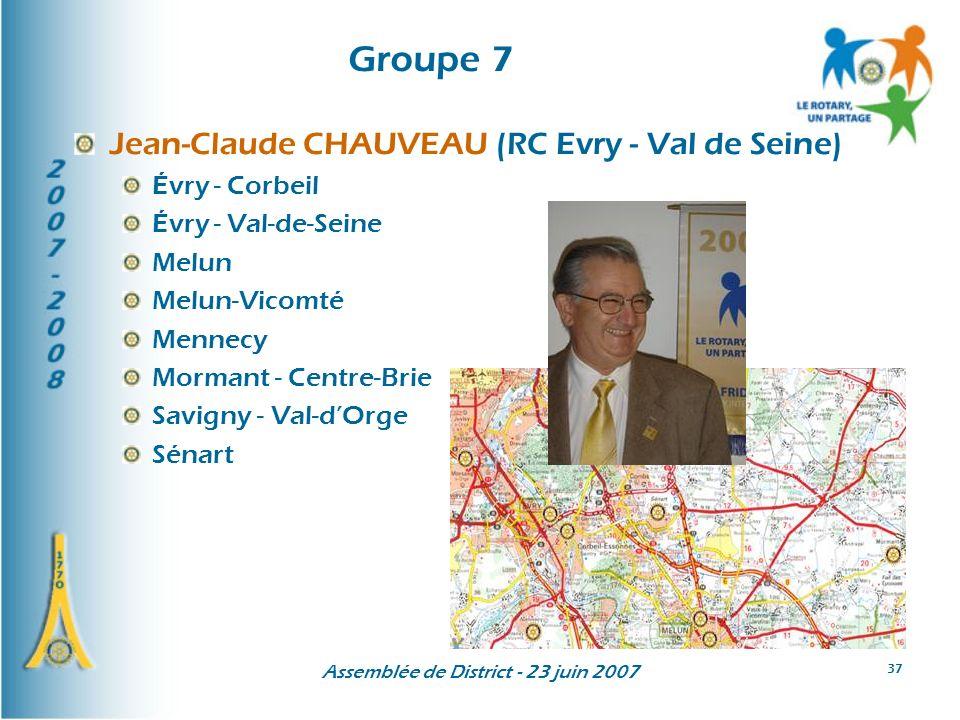 Assemblée de District - 23 juin 2007 37 Groupe 7 Jean-Claude CHAUVEAU (RC Evry - Val de Seine) Évry - Corbeil Évry - Val-de-Seine Melun Melun-Vicomté Mennecy Mormant - Centre-Brie Savigny - Val-dOrge Sénart