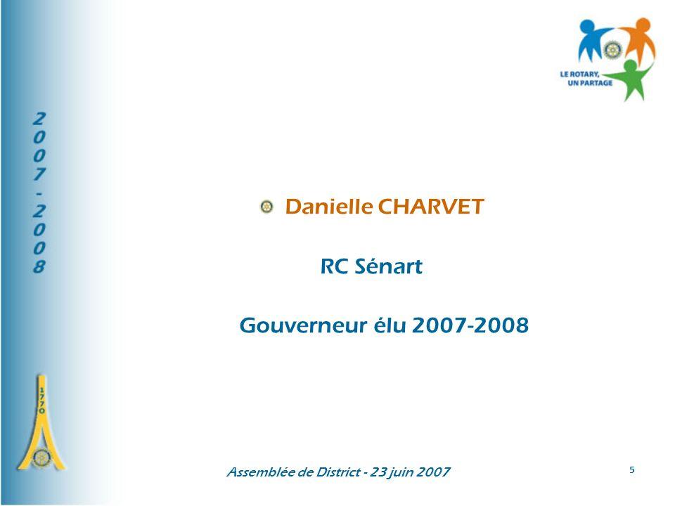 Assemblée de District - 23 juin 2007 6 Danielle CHARVET Rotary-club de Sénart depuis 1997 secrétaire 1999-2000 présidente 2003-2004 gouverneur adjoint 2004-2006 gouverneur élu en 2006-2007
