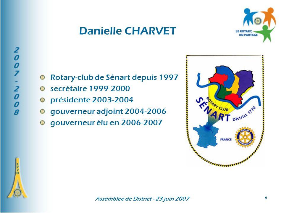 Assemblée de District - 23 juin 2007 17 Les domaines prioritaires du Président Wilf Wilkinson Lalphabétisation La santé et la faim Leau La famille