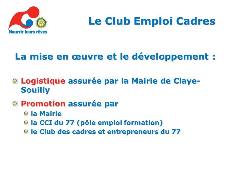 La mise en œuvre et le développement : Logistique assurée par la Mairie de Claye- Souilly Promotion assurée par la Mairie la CCI du 77 (pôle emploi formation) le Club des cadres et entrepreneurs du 77 Le Club Emploi Cadres