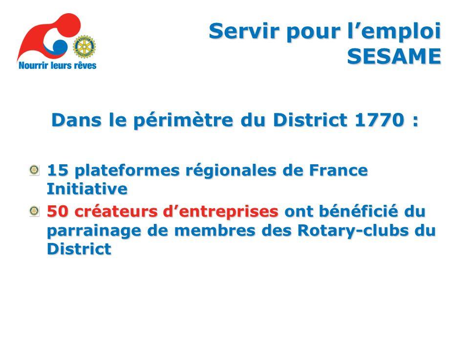 Dans le périmètre du District 1770 : 15 plateformes régionales de France Initiative 50 créateurs dentreprises ont bénéficié du parrainage de membres des Rotary-clubs du District Servir pour lemploi SESAME