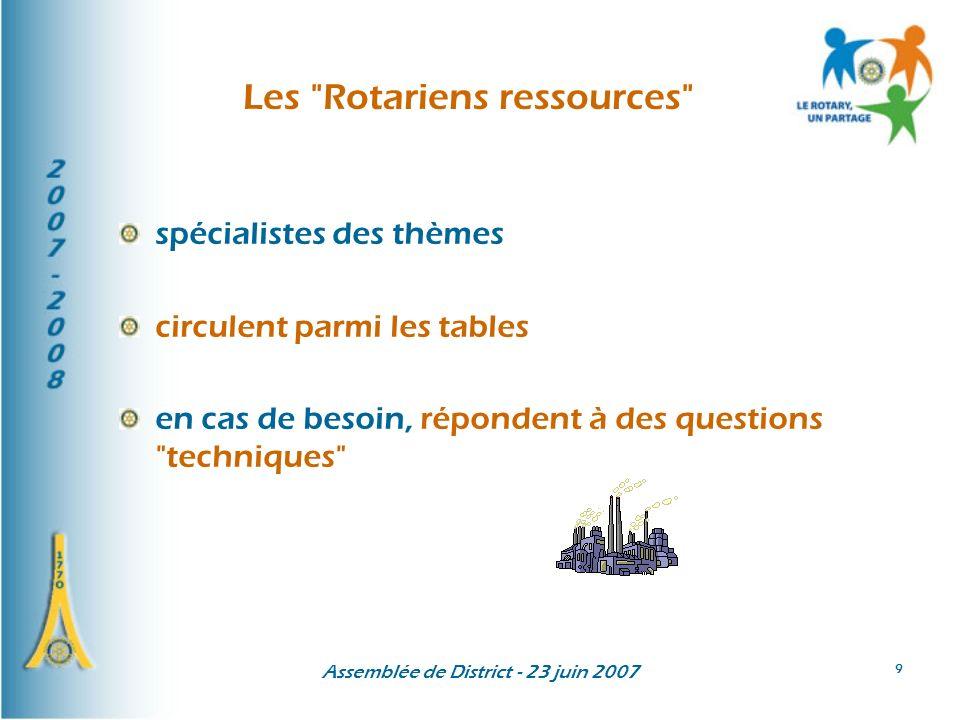 Assemblée de District - 23 juin 2007 9 Les Rotariens ressources spécialistes des thèmes circulent parmi les tables en cas de besoin, répondent à des questions techniques