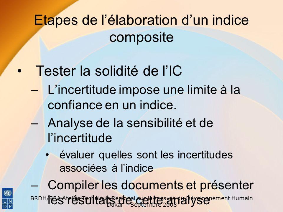 BRDH/BRA Atelier Technique Régional sur la mesure du Développement Humain Dakar – Septembre 2008 Etapes de lélaboration dun indice composite Tester la