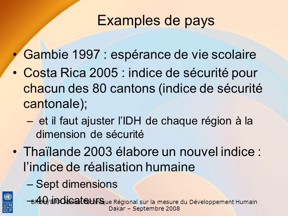 BRDH/BRA Atelier Technique Régional sur la mesure du Développement Humain Dakar – Septembre 2008 Gambie 1997 : espérance de vie scolaire Costa Rica 20