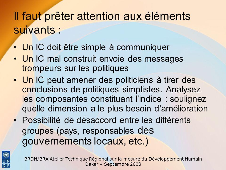 BRDH/BRA Atelier Technique Régional sur la mesure du Développement Humain Dakar – Septembre 2008 Il faut prêter attention aux éléments suivants : Un I