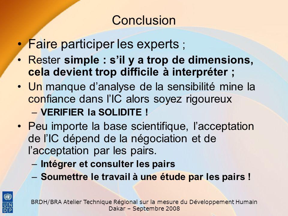 BRDH/BRA Atelier Technique Régional sur la mesure du Développement Humain Dakar – Septembre 2008 Conclusion Faire participer les experts ; Rester simp