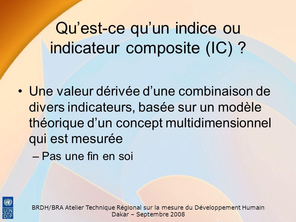 BRDH/BRA Atelier Technique Régional sur la mesure du Développement Humain Dakar – Septembre 2008 Quest-ce quun indice ou indicateur composite (IC) ? U
