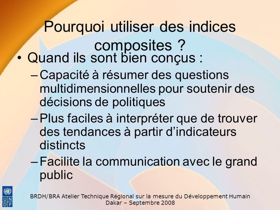 BRDH/BRA Atelier Technique Régional sur la mesure du Développement Humain Dakar – Septembre 2008 Pourquoi utiliser des indices composites ? Quand ils
